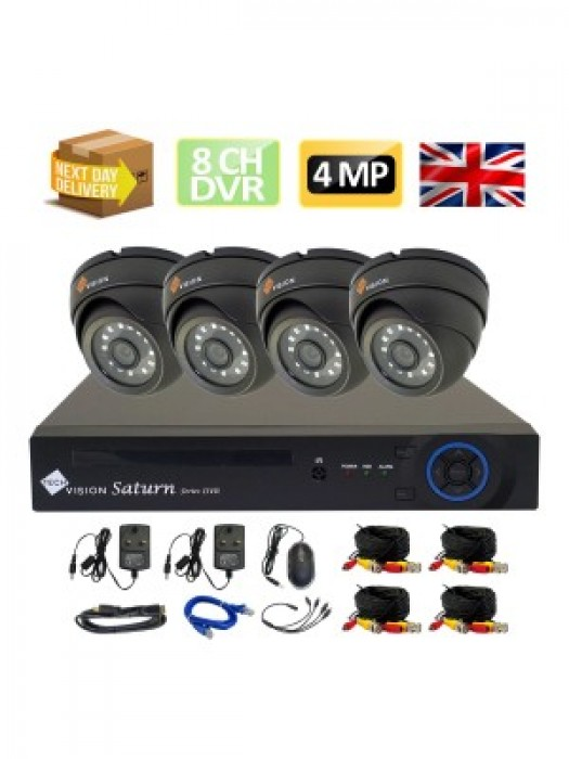 Techvision 8 Channel Dvr HD 4MP AHD Complete Plug and Play CCTV Camera Kit FREE P2P ICLOUD